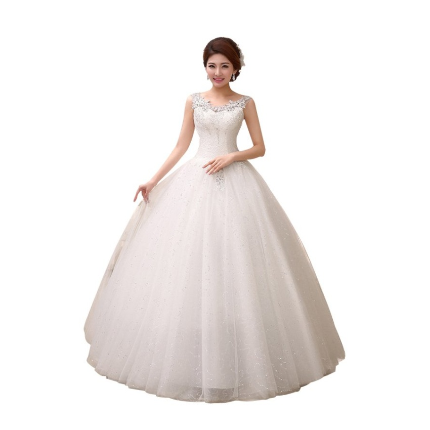 Ball Gown V Neck Sleeveless Sweep/Brush Wedding Dress (White) - Intl