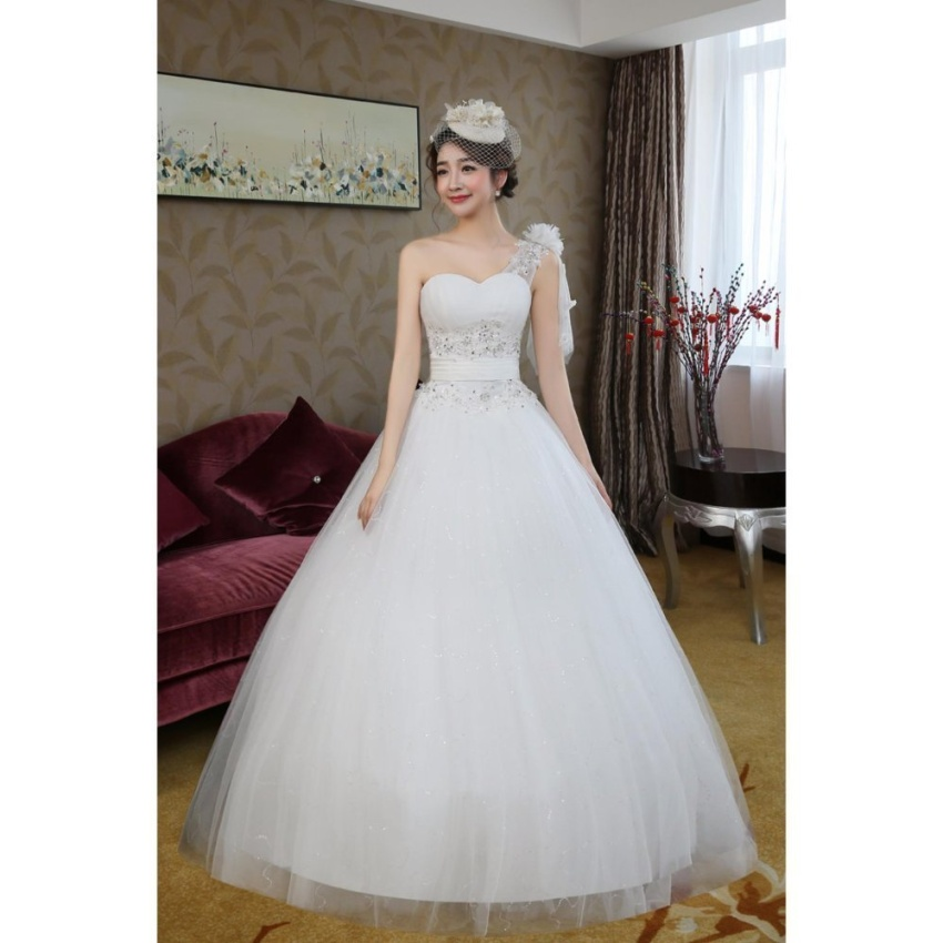 Changuan Fashion One Shoulder Sleeveless Lace applique And Satin Ball Gown Wedding Dress (Ivory)CG-HS18 - intl
