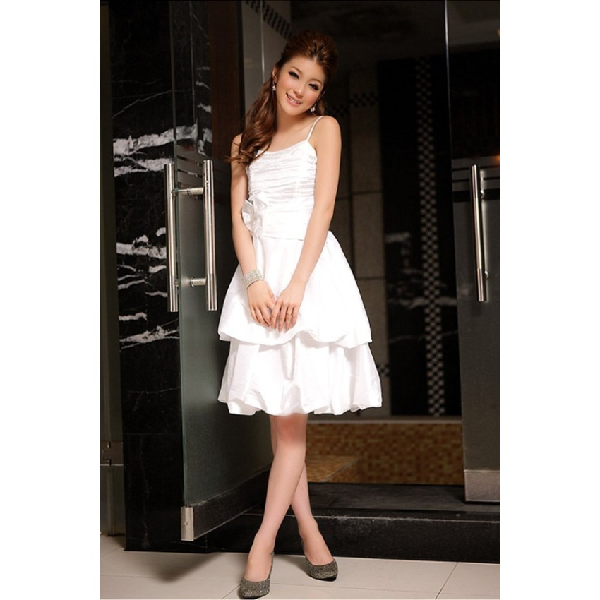 Bow Ruched Straps Stain Bridesmaid Wedding Evening Gowns Party Dress (White) - Intl