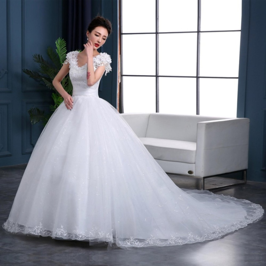 Marry Bridal Ivory Long Train Bridal Gown Beaded Tulle Wedding Dresses - intl