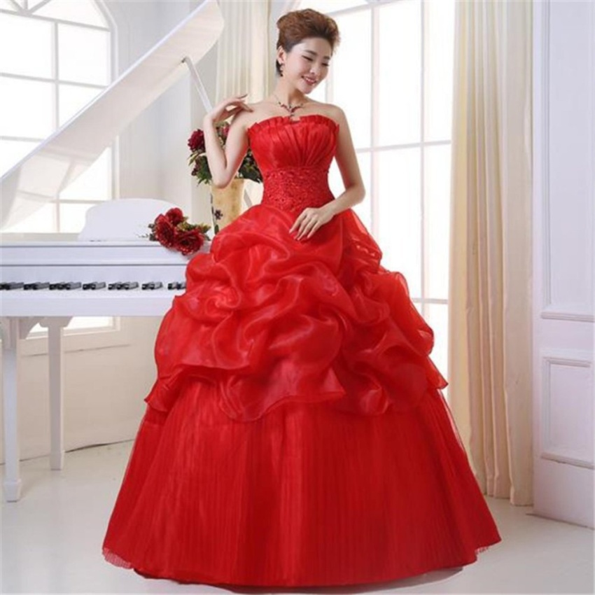 Red Sweet Wedding Dres Lace Flower Beading Crystal Wedding Dresses Red White Wedding Gown - intl