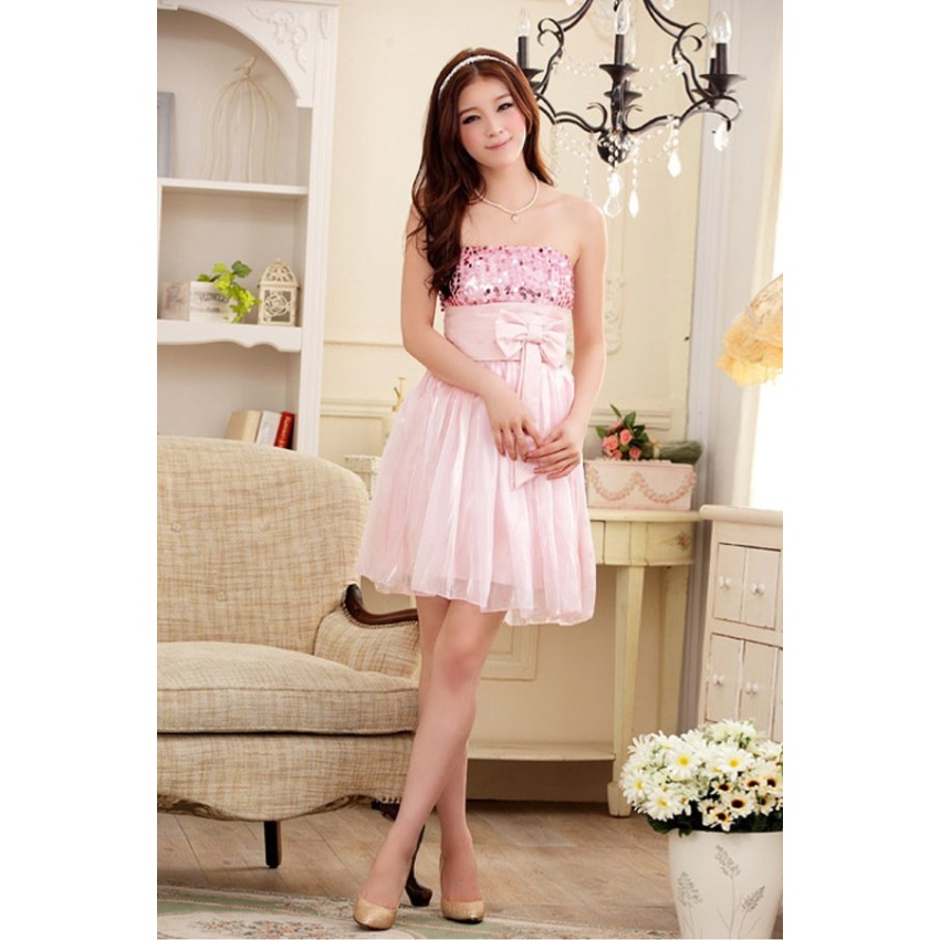 Sequin Bow Stain Bridesmaid Wedding Evening Gowns Party Dress (Pink) (Intl)