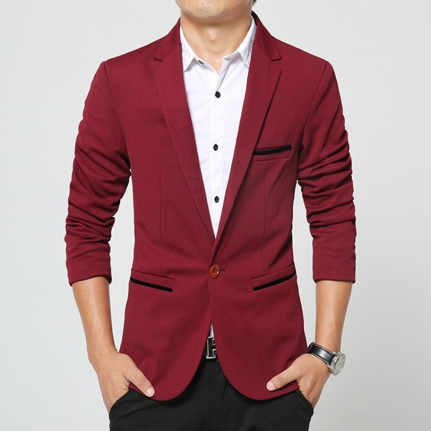 Spring and Autumn Men 's Small Suit Korean Youth Jacket Leisure Suits (Wine red) - intl