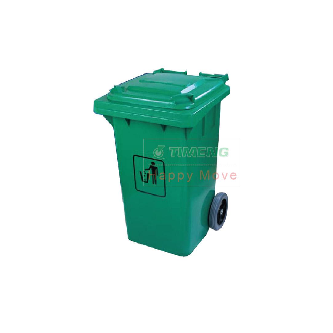 24755 รถเข็นถังขยะ 2 ล้อสีเขียว จุ 240 ลิตร