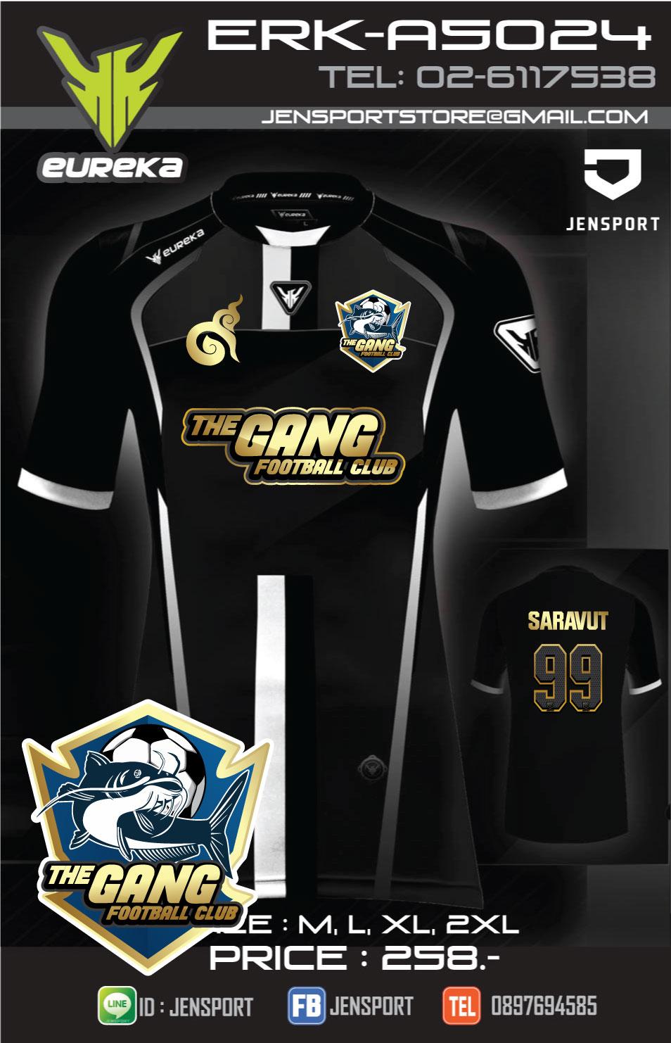 เสื้อฟุตบอล EUREKA ERK-A5024 สีดำ ทีม THE GANG FC