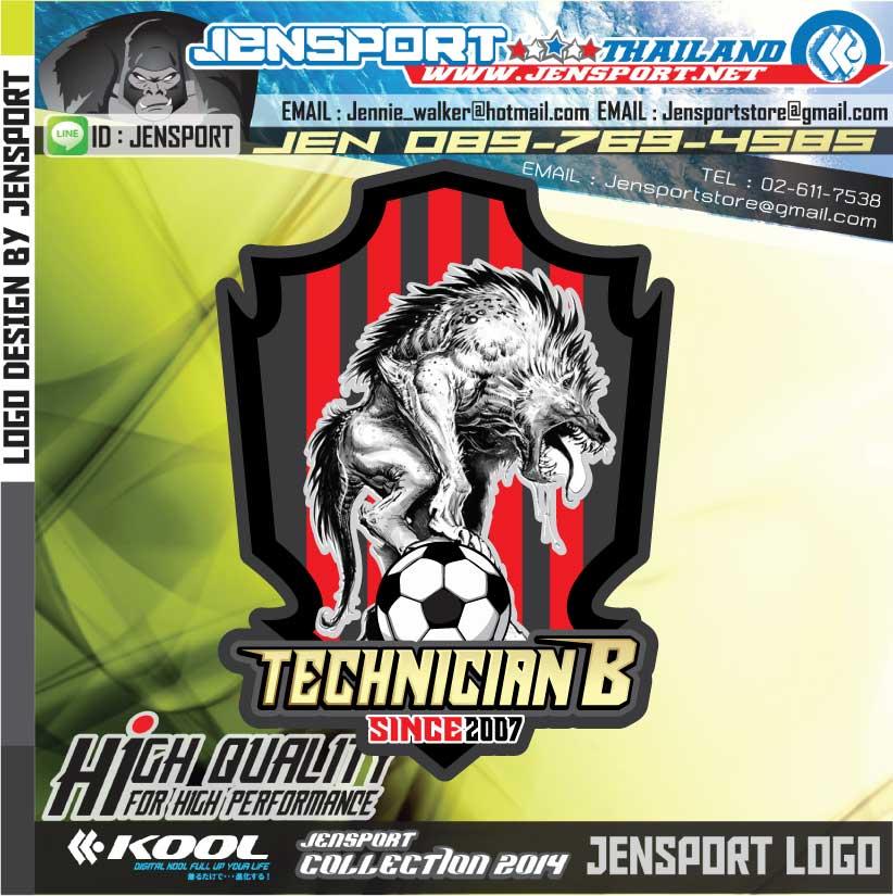 ออกแบบโลโกรูปหมาฮายีน่า ครับผม  เน้นโทนสีเข้มๆให้เข้ากับเสื้อ ชื่อทีม TECHNICIAN B ครับ