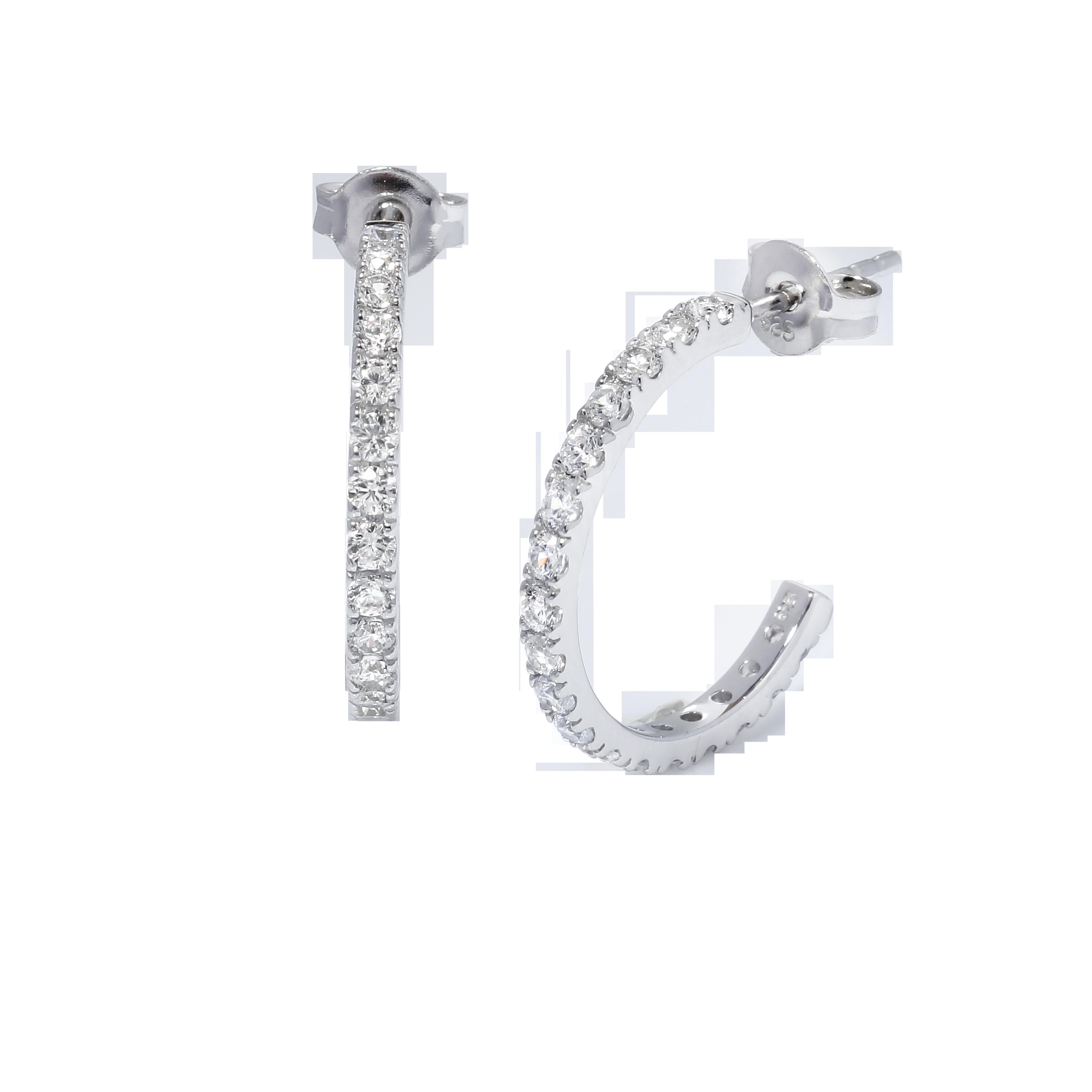 Sterling Silver CZ 3MM Tube Half-Hoop Earring