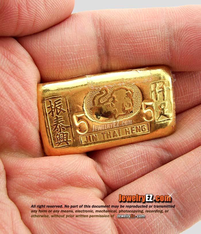 ทองคำแท่งยี่ห้อ จิ้นไถ่เฮง น้ำหนัก 76.20กรัม (5บาท)