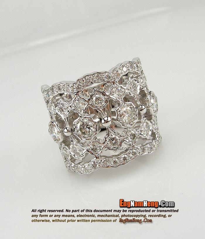 แหวนเพชรแท้ เบลเยี่ยมตัต น้ำ 97 เรือนทองขาว ใส่เต็มนิ้วค่ะ