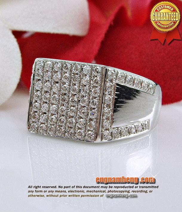 แหวนเพชรชายเบลเยี่ยมคัท น้ำ97 (G-color/VVS1) ทรงสวยทันสมัยค่ะ