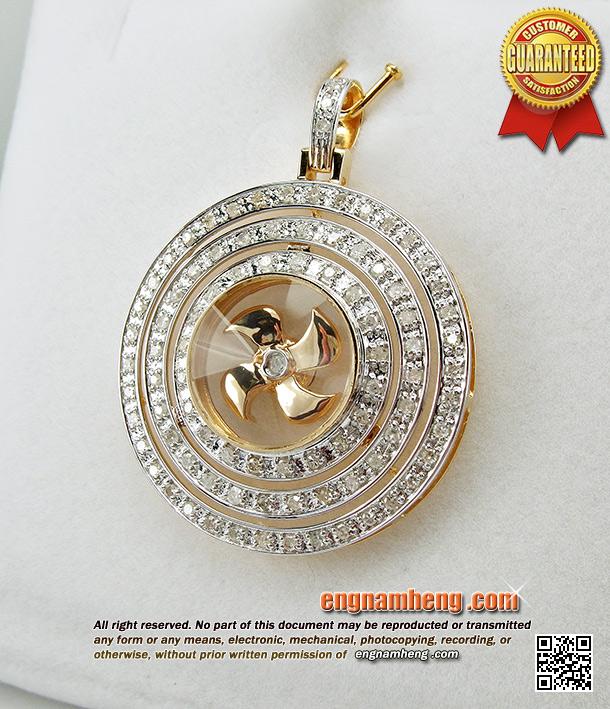 จี้กังหันนำโชค ประดับเพชรแท้ล้อม 3 ชั้น สินค้านำเข้าจากฮ๋องกง ตัวเรือนทอง 18K (750) ค่ะ