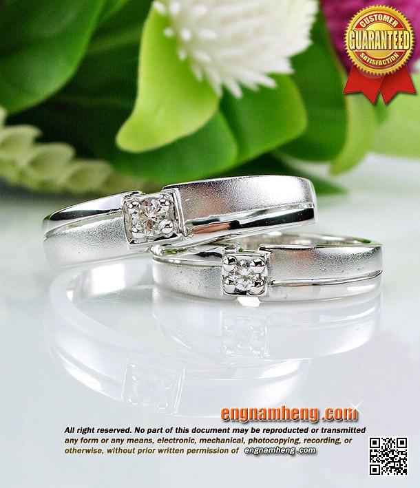 แหวนเพชรเบลเยี่ยมคัท G-Color/VVS1 ตัวเรือนทองขาว ลงทรายละเอียดน่ารักค่ะ