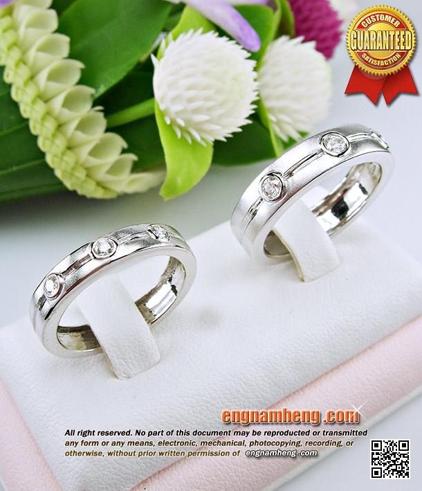 แหวนเพชร เบลเยี่ยมคัท G-Color/VVS1 แหวนคู่ ชาย&หญิง แบบเก๋น่ารักๆ ตัวเรือนขาวหนาแข็งแรง ใส่สวยค่ะ