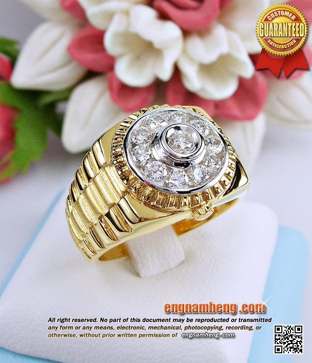 แหวนเพชรโรเล็กซ์ ประดับเพชรเบลเยี่ยมน้ำ 98 น้ำหนักเพชรรวม 58 ตังค์ สวยเก๋โดดเด่นไม่ซ้ำใครค่ะ
