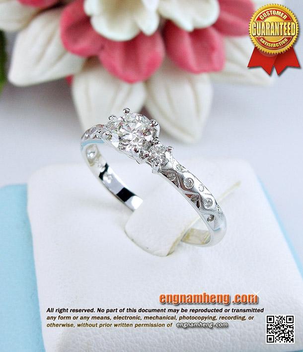 แหวนเพชรเบลเยี่ยมคัทน้ำ 97 (G-Color/VVS1) น้ำหนักเพชร 0.48 กะรัต ตัวเรือนสวยลายใหม่ ใส่ไม่ซ้ำใครค่ะ