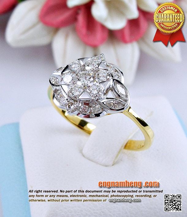 แหวนเพชรเบลเยี่ยมคัทน้ำ 98 F-Color/VVS1 แหวนเพชรประกบค่ะ เหมือนใส่เพชรไซด์กะรัต สวยน่ารักค่ะ