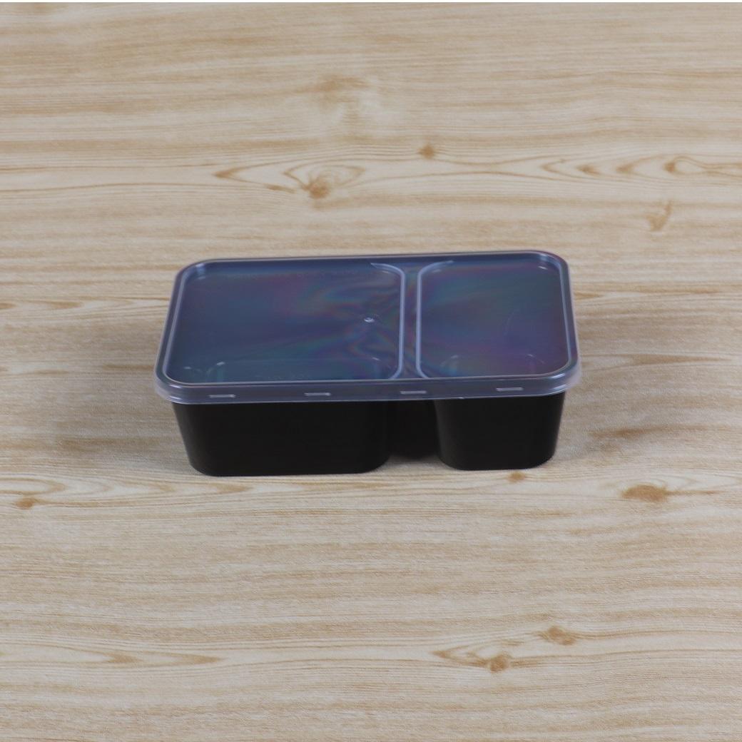 กล่องอาหารเหลี่ยม 2 ช่อง  650 ml+ฝาสีใส                                                                                                                          (copy)(copy)