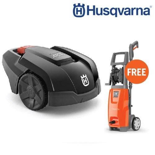 Husqvarna หุ่นยนต์ตัดหญ้าอัตโนมัติ รุ่น AM105 แถมฟรี HUSQVARNA เครื่องฉีดน้ำแรงดันสูง PW125(มูลค่า 8,000 บาท)