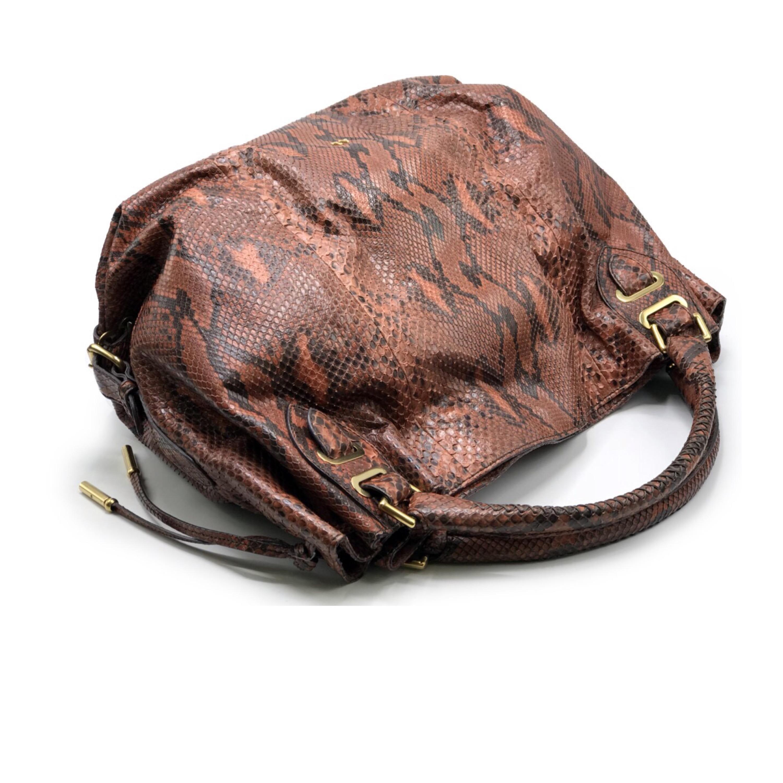 Used Bally Handbag Large in Brown Python GHW