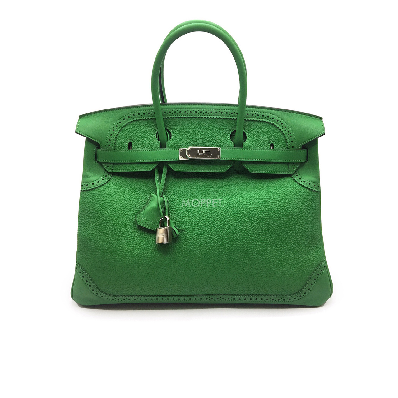 "Used Hermes Birkin Ghillies 35"" in Bamboo Togo/Swift SHW"
