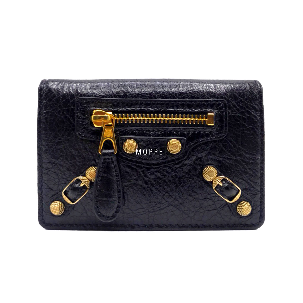 New Balenciaga Card Holder in Black Leather Giant GHW