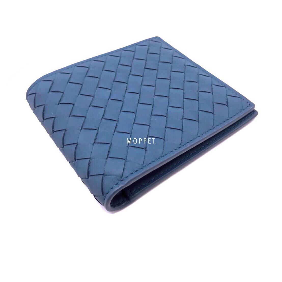 New Bottega Men's Wallet 8 Card in Blue Leather