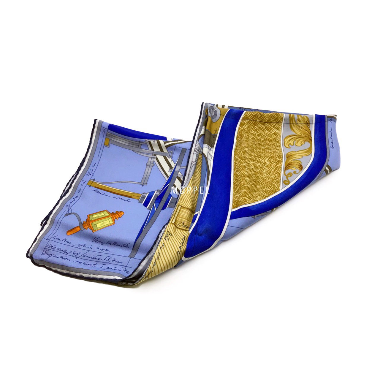 Used Hermes Silk Scarf 90X90'' in Blue Graphic Printed