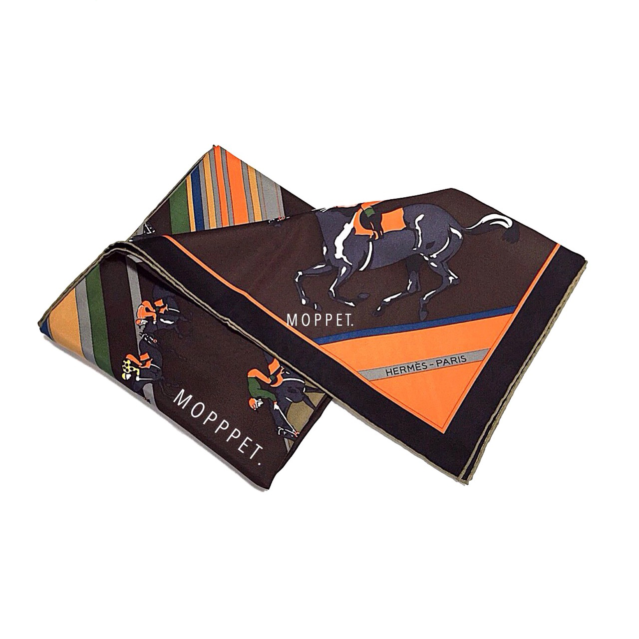 NEW Hermes Silk Scarf 90X90'' in Brown/Orange