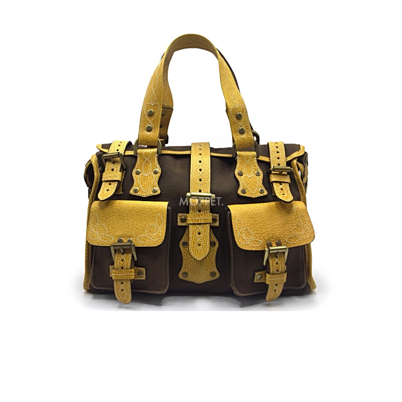 Used Mulberry Roxanne Handbag in Khaki/Yellow Leather GHW