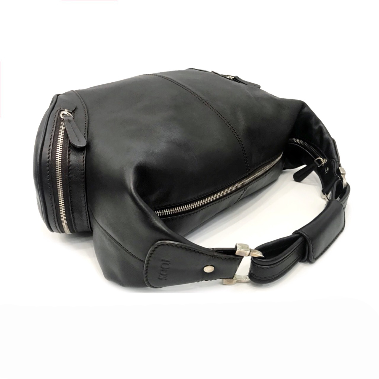 Used TOD'S Charlotto Shoulder Bag in Black Leather SHW