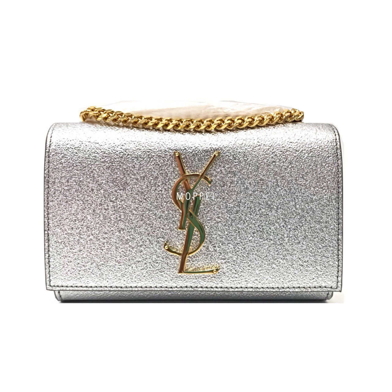 New YSL Kate Mini Bag in Silver Leather GHW