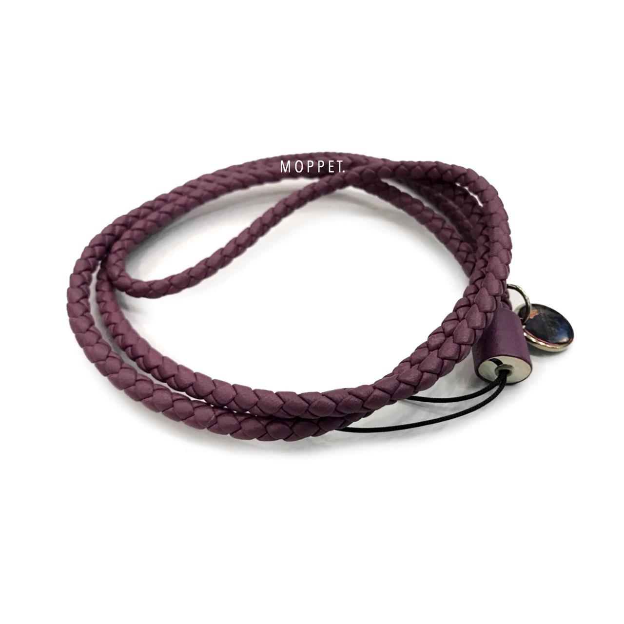 New Bottega Lanyard In Purple Leather SHW