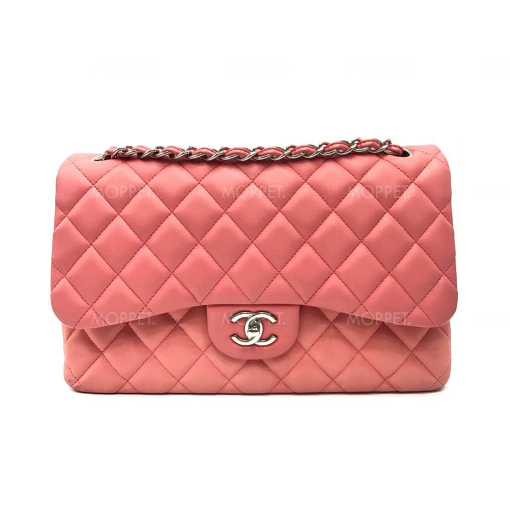 Used Chanel Classic Jumbo in Pink Lamb SHW
