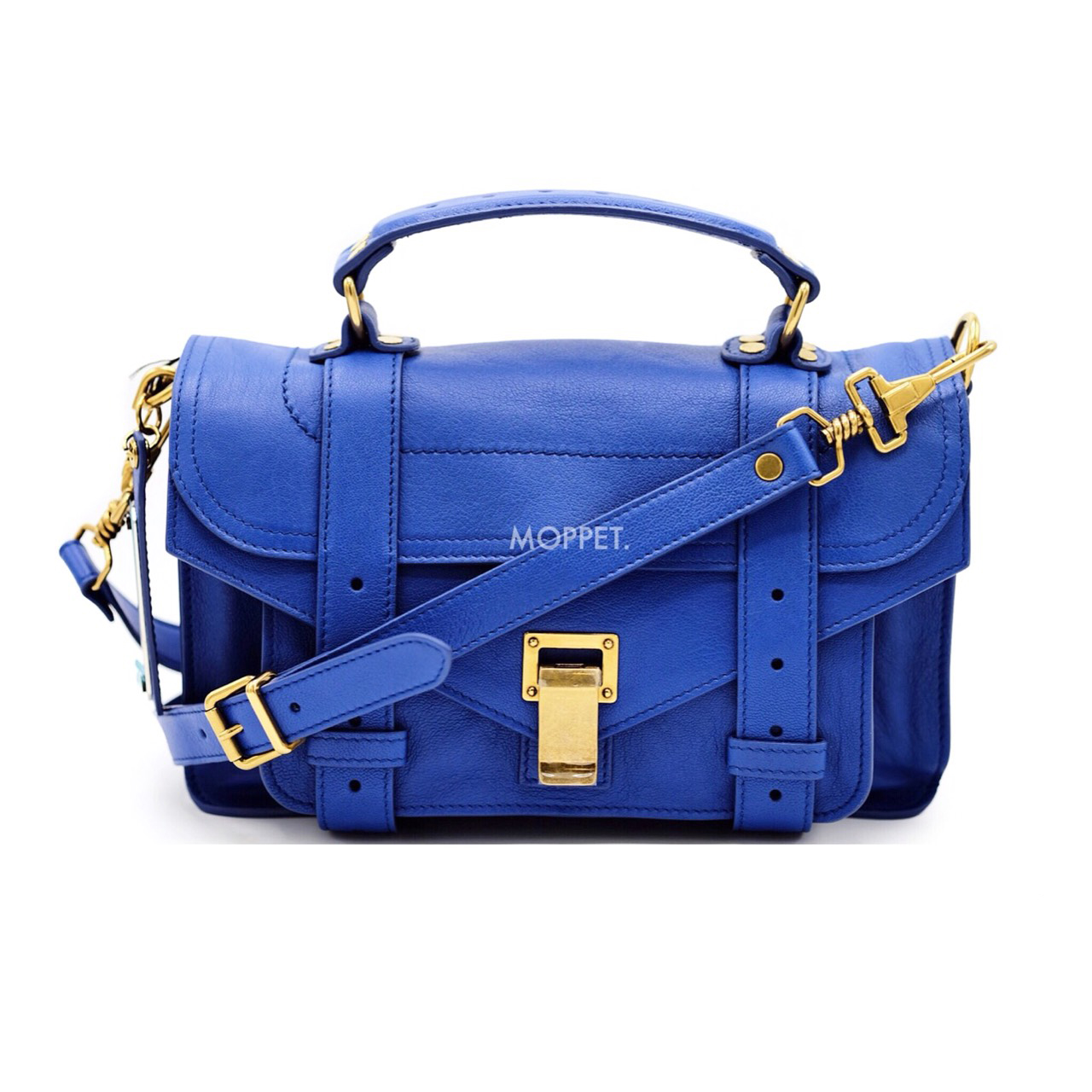 Like New Proenza Schouler PS1 Tiny in Royal Blue Leather GHW
