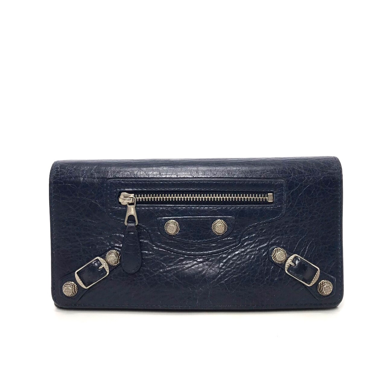 Used Balenciaga Long Wallet in Navy Leather SHW