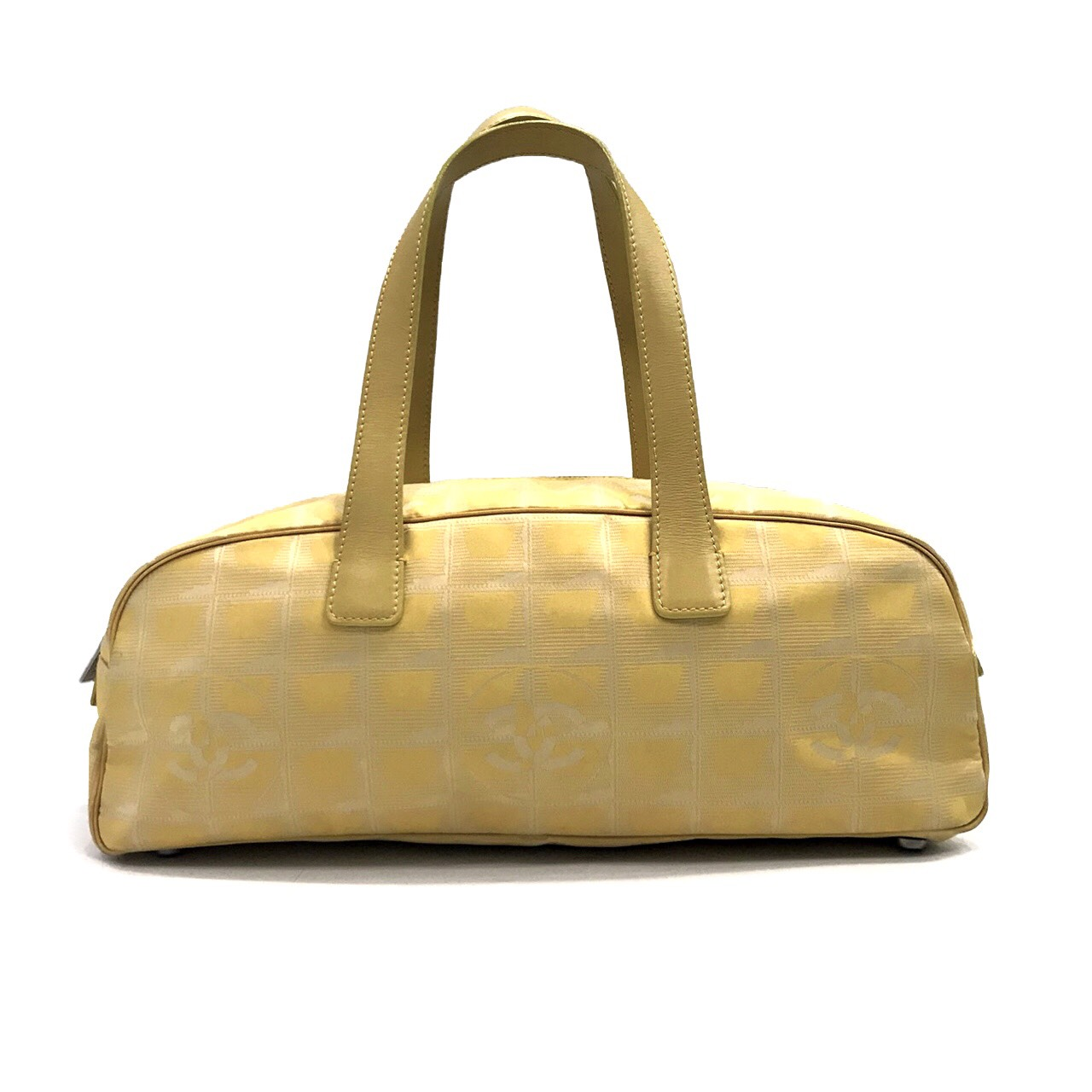 Used Chanel New Travel Vintage Boston Bag  in Yellow Fabric GHW
