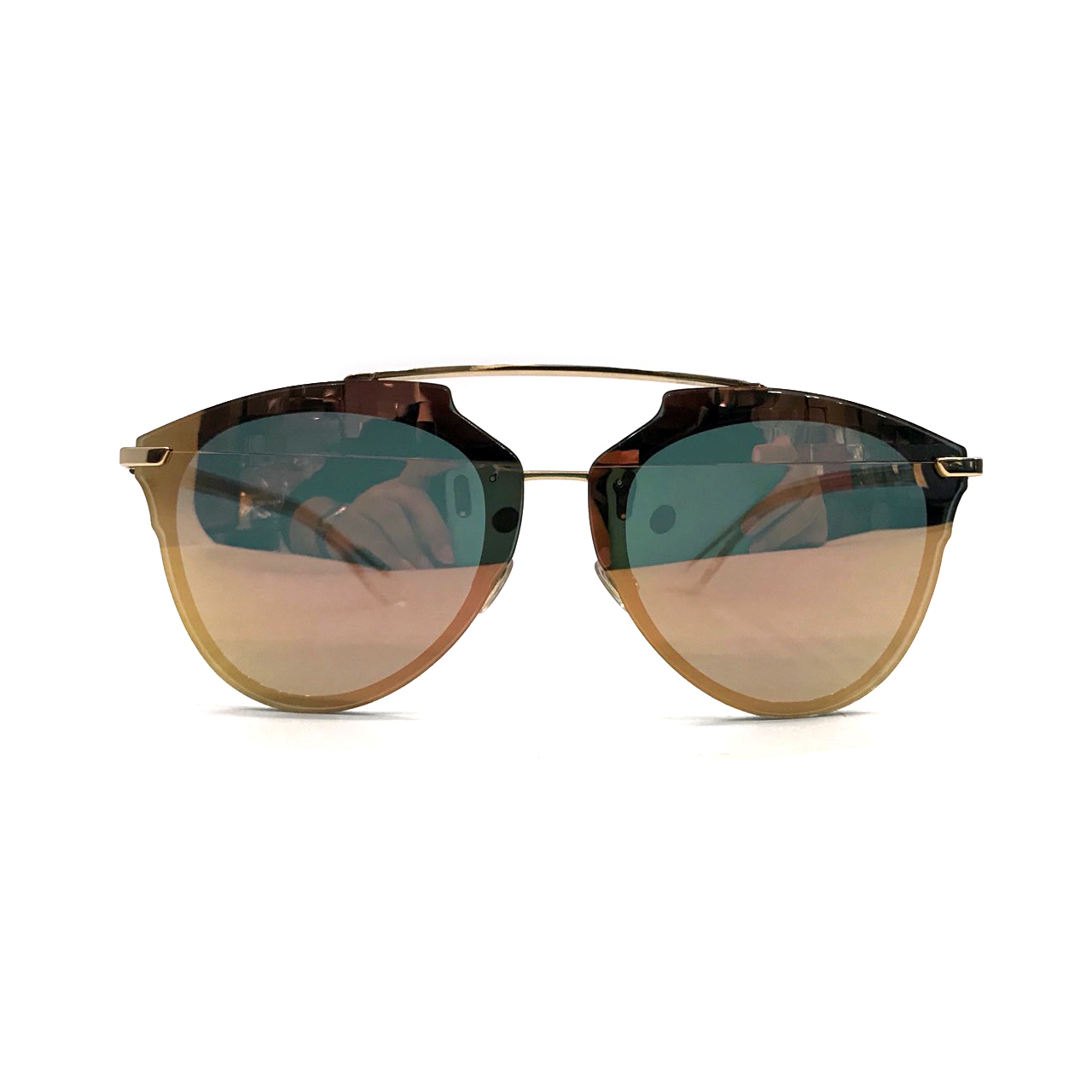 Used Christian Dior Reflected Pixel Sunglasses in Gold Reflected LGHW