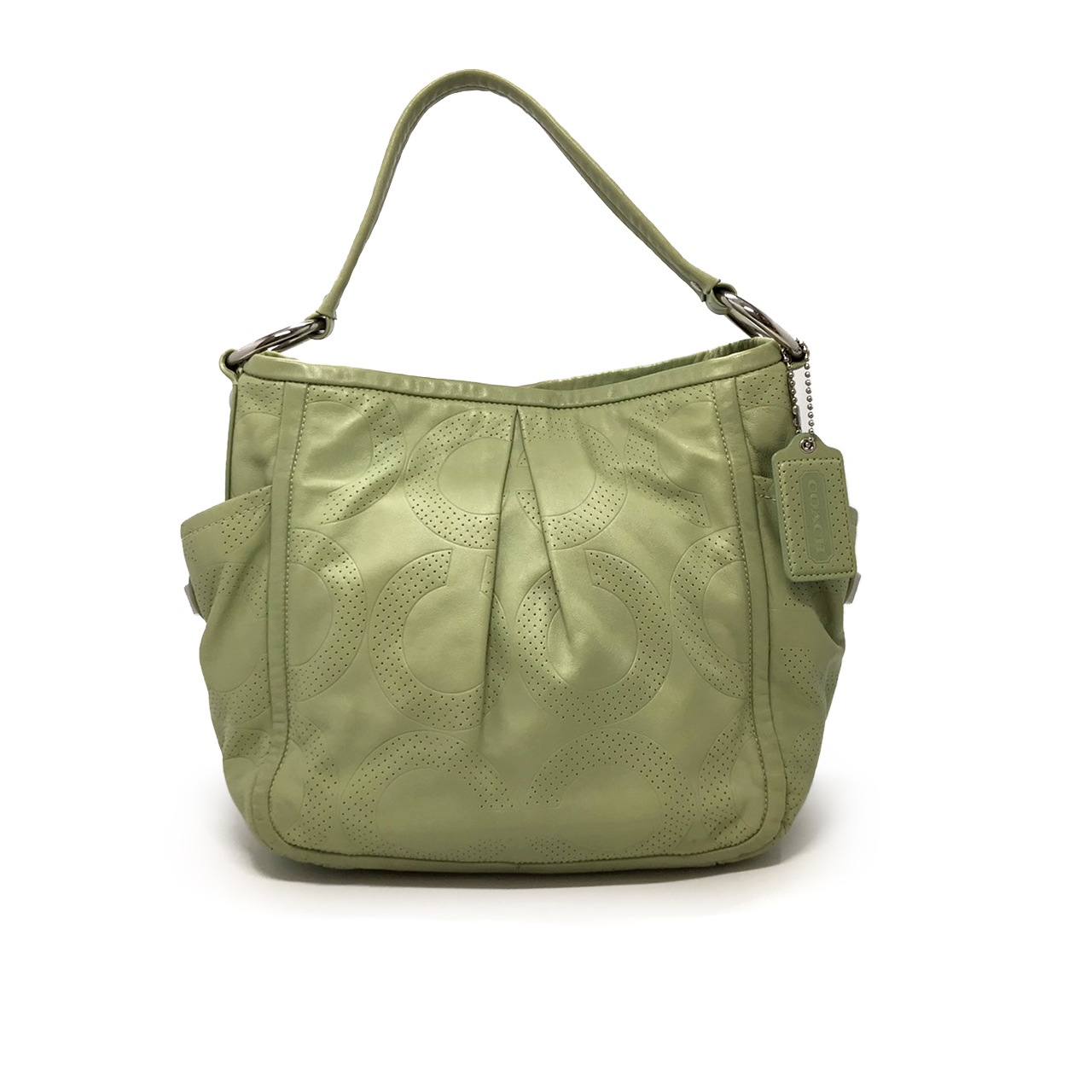 Used Coach Hobo Bag in Green Leather SHW