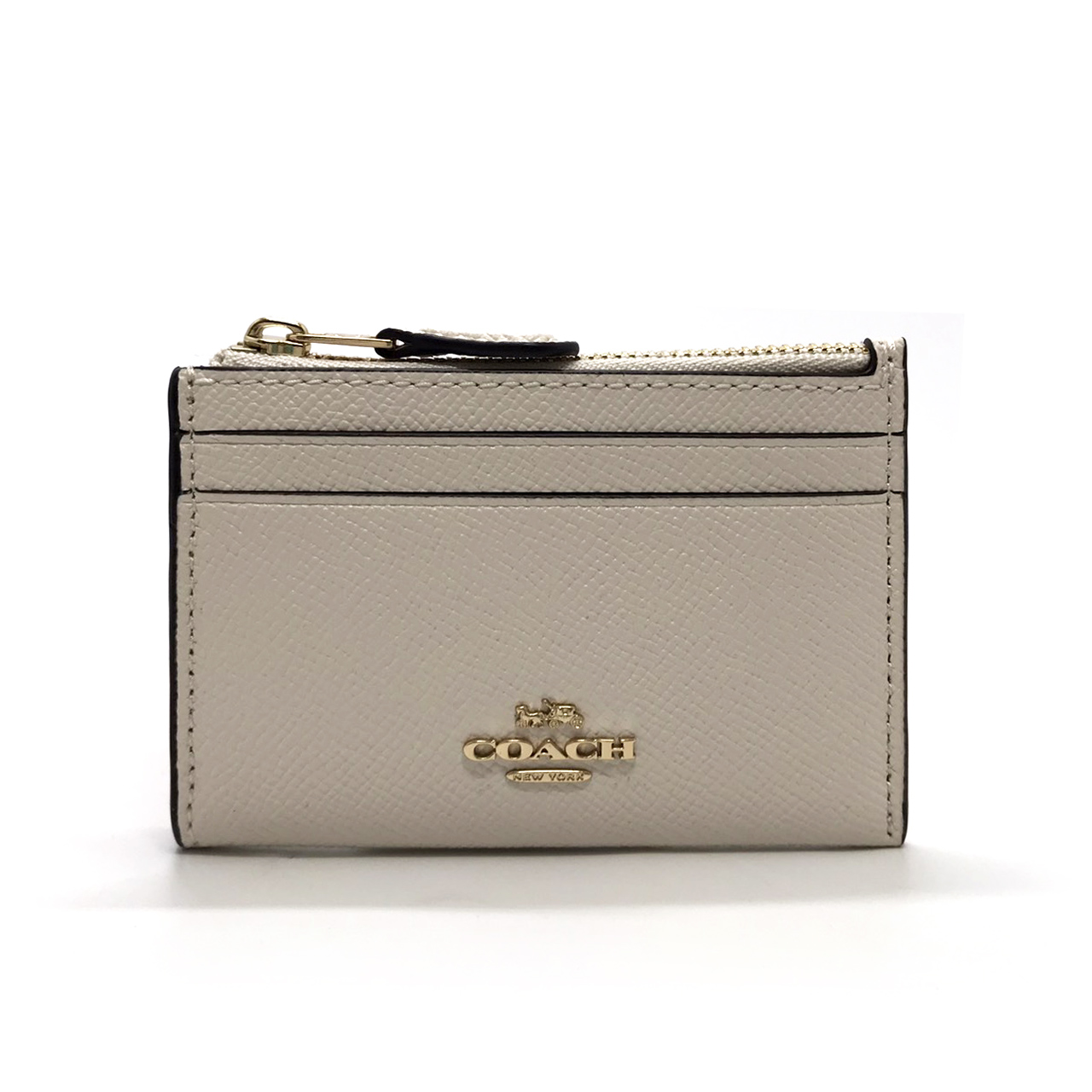 New Coach Mini Skinny ID Case in Chalk Leather GHW