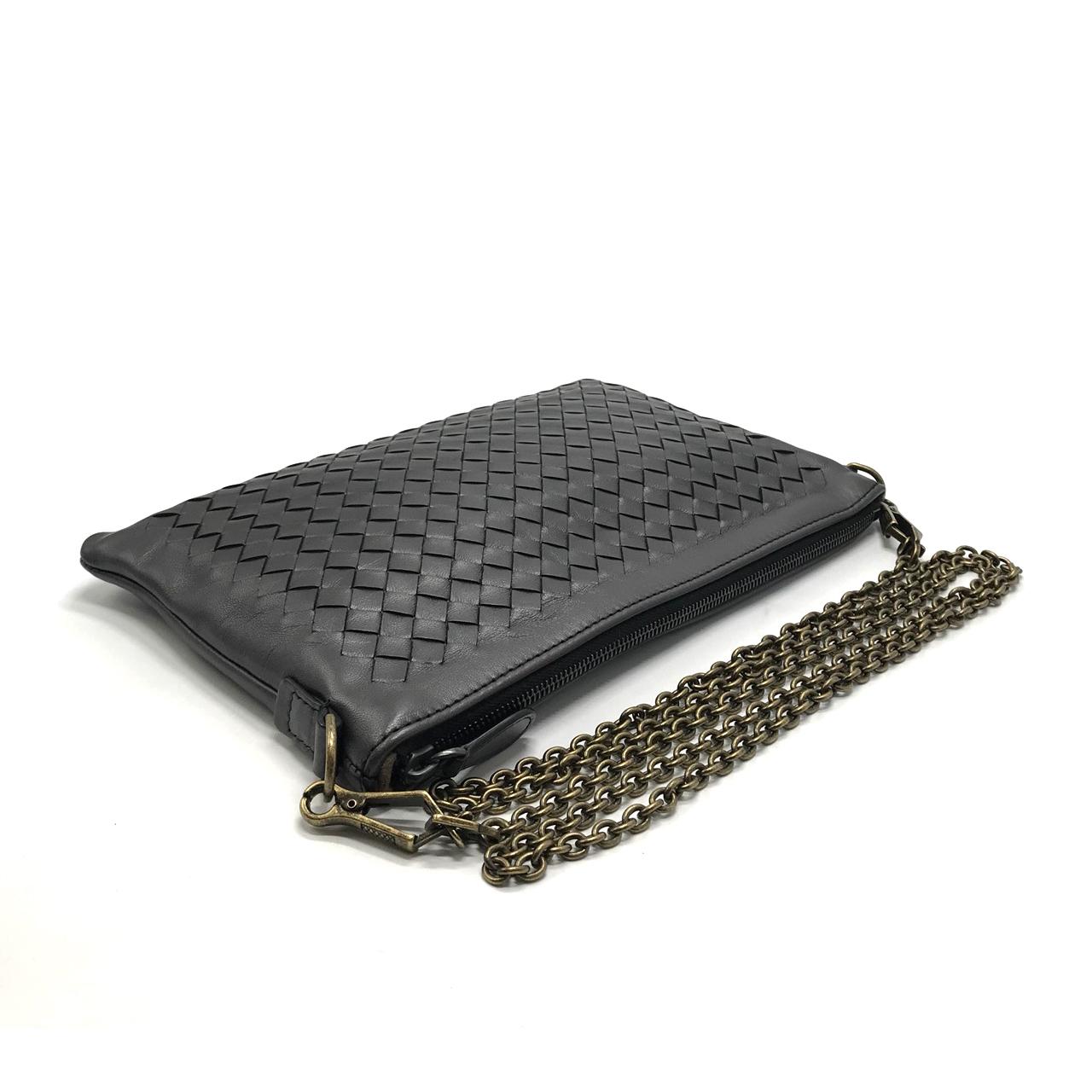 New Bottega Crossbody Bag in Graphite Leather Vintage Gold Hardware