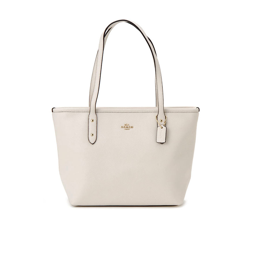 New Coach Zip Top Tote in Chalk Leather GHW