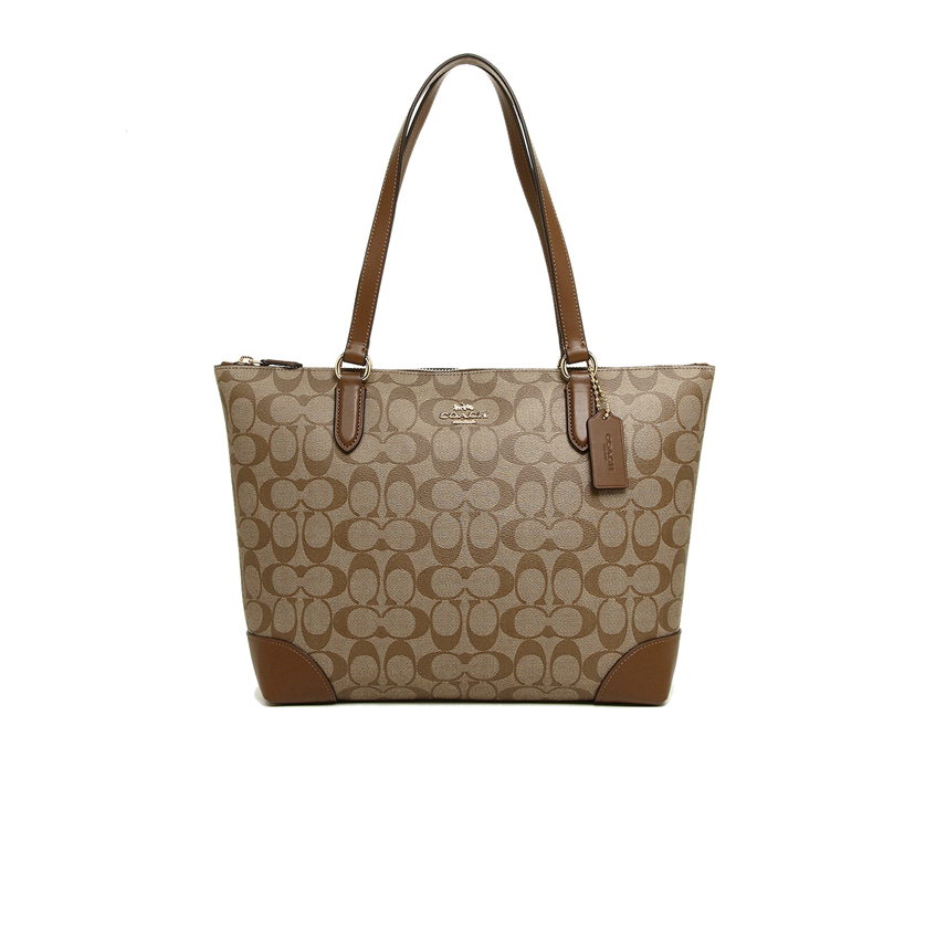 New Coach Zip Top Tote in Signature Saddle GHW