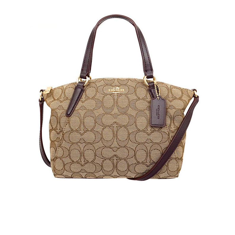 New Coach Mini Kelsey Satchel in Signature Brown GHW