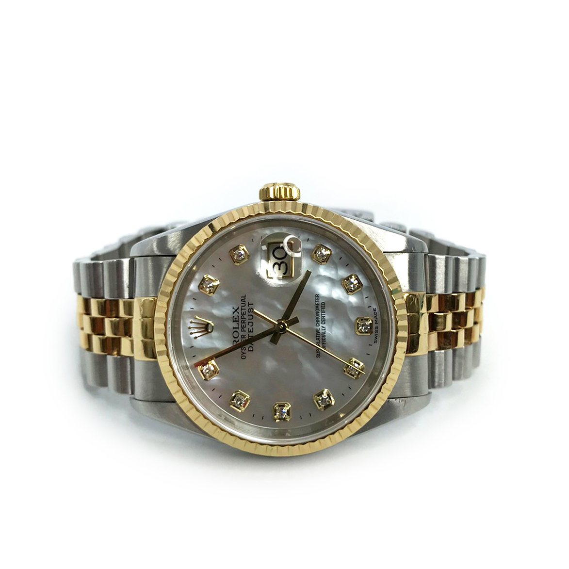 Used Rolex Oyster DateJust 36 MM  in Pearl Dial/Diamonds S/GHW