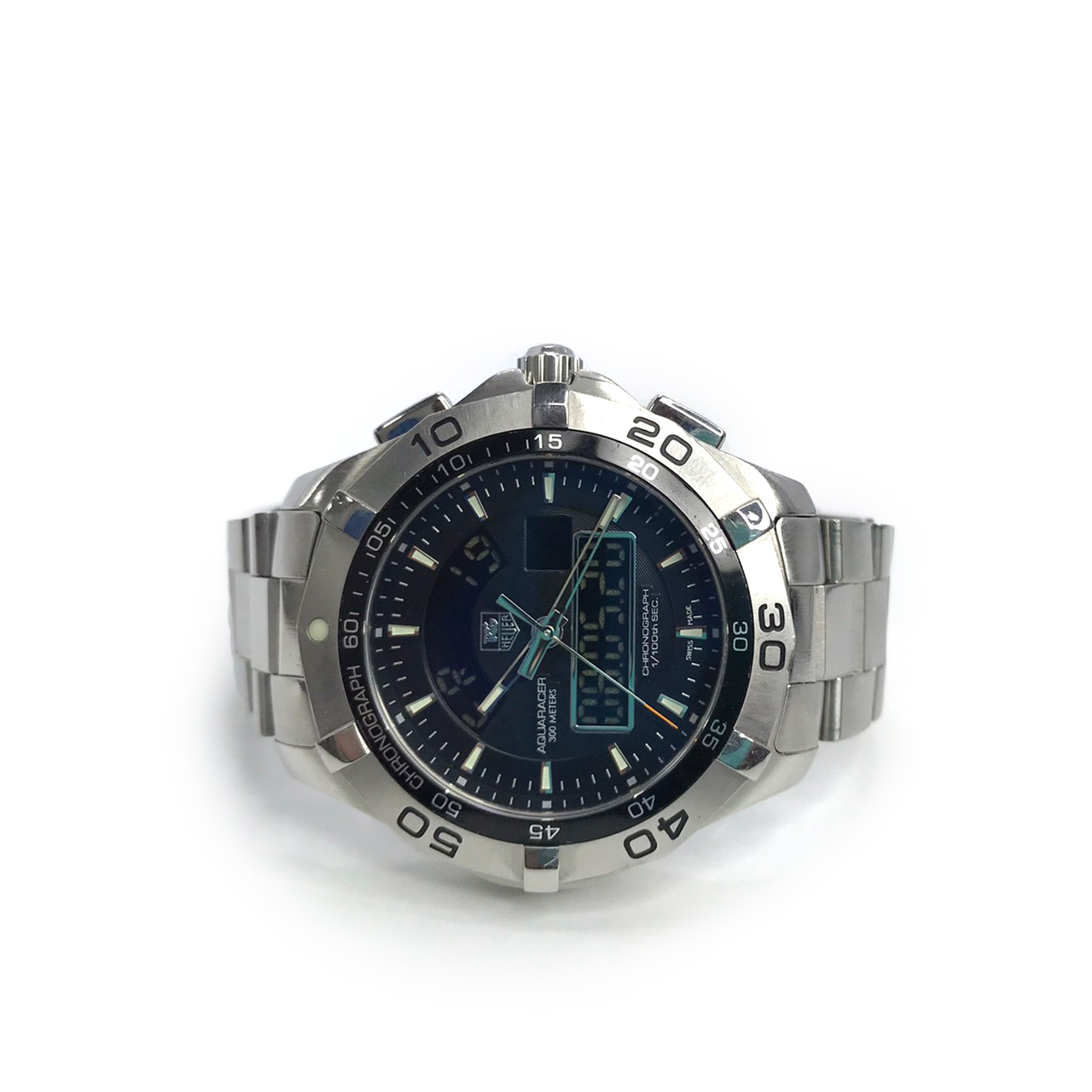 Used Tag Heuer Aquaracer Chronotimer 43 mm In Black Dial Silver Hardware