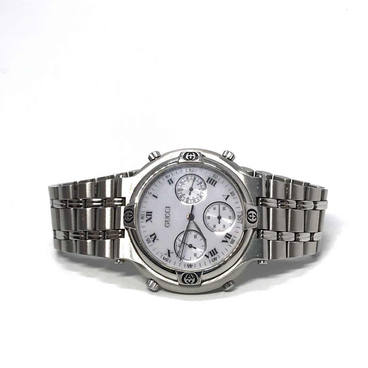 Used Gucci Men Watch 40 mm in Silver Hardware/White Dial