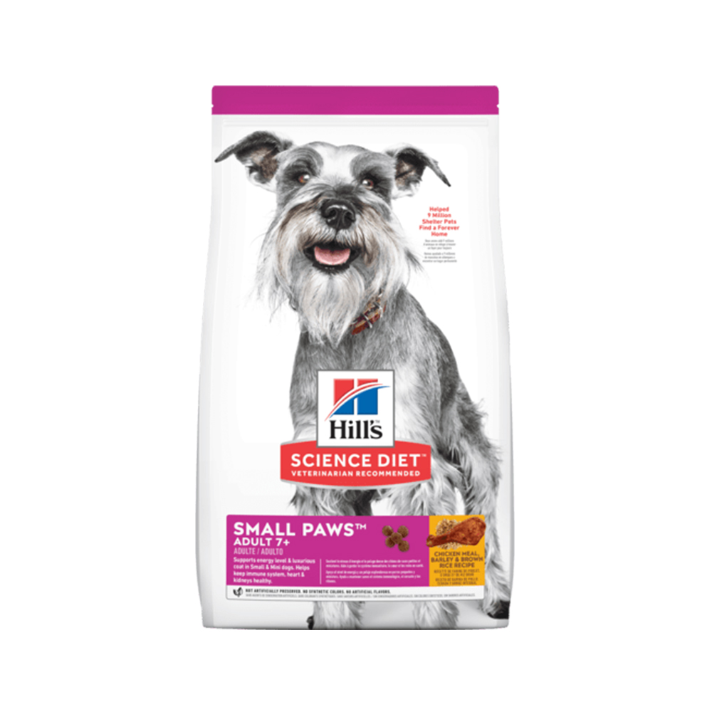 Hill's Science Diet® Adult 7+ Small Paws Chicken Meal, Barley & Brown Rice Recipe dog food (7 กก.)