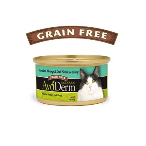 AvoDerm Cat Sardine, Shrimp & Crab entree in Gravy Canned 80 g.