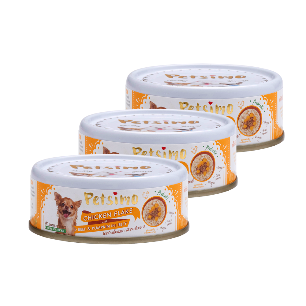 Petsimo Dog food Chicken Flake with Beef and Pumpkin in Jelly (85 g) x 3