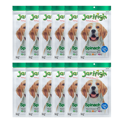 Jerhigh Dog Snack Spinach Stick (70 g.) x 12 Packs
